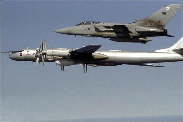 Russian Bear Foxtrot bomber escorted by RAF Tornado